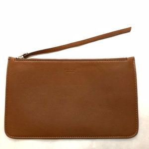 Zara Faux Leather Envelope Clutch in Camel EUC